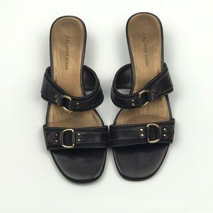 ANNE KLEIN Brown Leather Slip-on Sandals Size 7.5